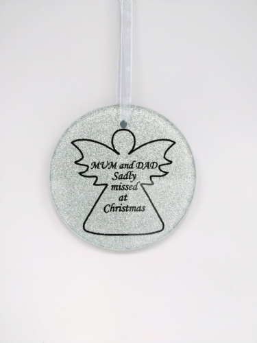 Mum & Dad  glass angel memorial tree hanger.